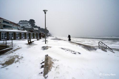 Snow on the Promenade at Shore Road, Sandbanks, Poole, March 2018.