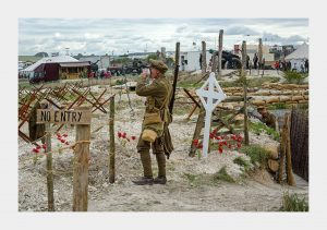 Soldier manning the replica WW1 Western Front trench system at The Great Dorset Steam Fair.