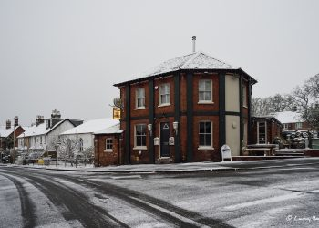 The BT in the snow, Parr Street, Ashley Cross, Lower Parkstone, Poole.