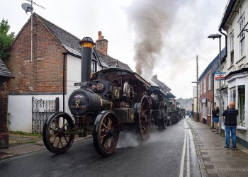 Steam engines and military vehicles in Salisbury Street, Blandford Forum, Dorset.