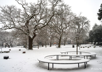 Play equipment in the snow at The Green, Lower Parkstone, Poole.