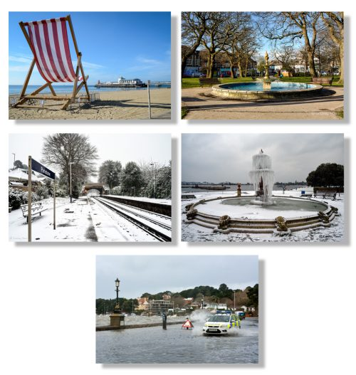 Pack of 5 cards, showing scenes from Poole and Bournemouth.