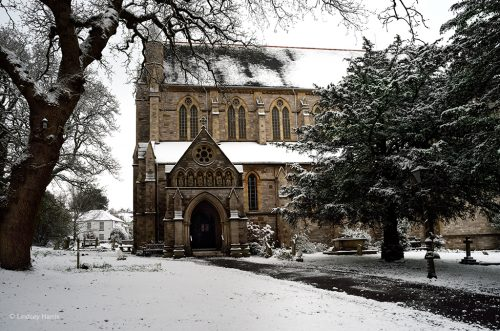 Snow at St Peter's Church, Parr Street, Ashley Cross, Lower Parkstone, Poole.