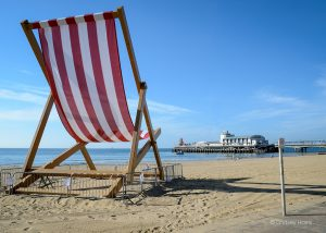 Giant deckchair on Bournemouth beach, by Bournemouth Pier.