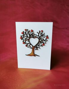 Tree and Hearts 3D wooden card.