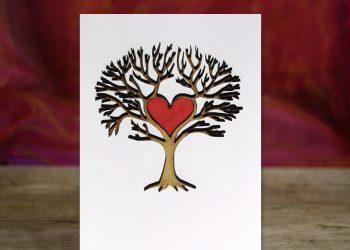 Love Tree - 3D wooden greetings card.
