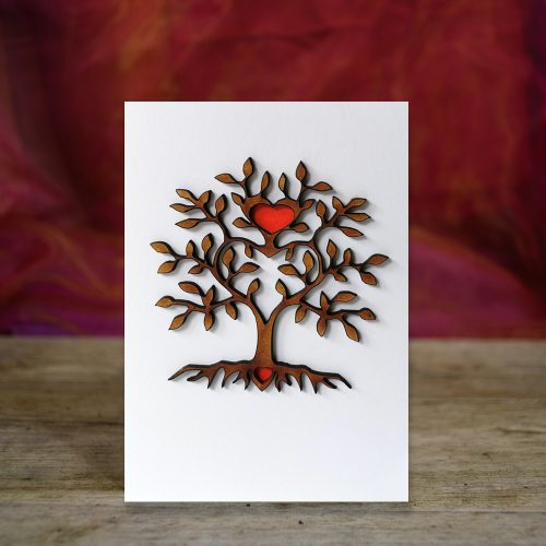 Tree of Hearts - 3D wooden greetings card.