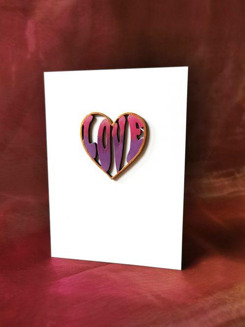 Pink & Purple Love Heart Card