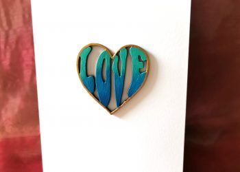 Blue and green heart card.