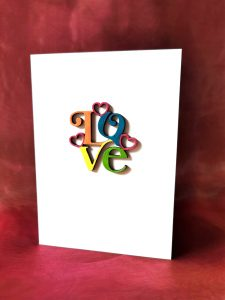 Psychedelic love card, 1960s inspired card
