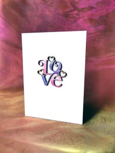 60's style card 'Love' card in lavender and pink.