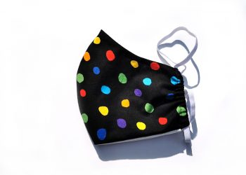 Artist's face mask, with coloured dots.