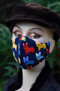 Cotton Face Mask / Face Covering With Funky Dogs, Washable
