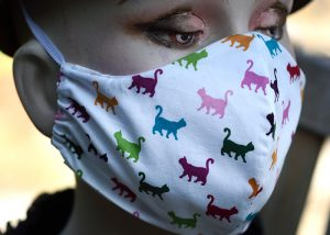 Cotton face mask with cats.