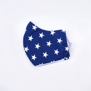 Cotton face mask - blue with white stars.