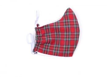 Red tartan face mask. Plaid face covering.