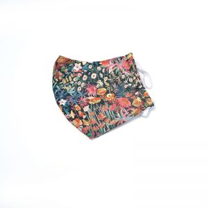 Liberty print material face covering with flowers,