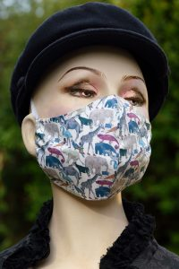 Liberty print safari animals face mask.