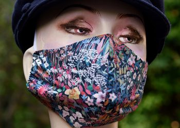 Liberty print material face mask with flowers,