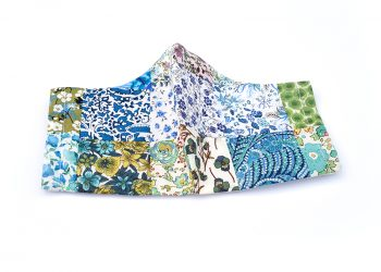 Liberty print patchwork face mask - 100% cotton, handmade. Shades of blue.