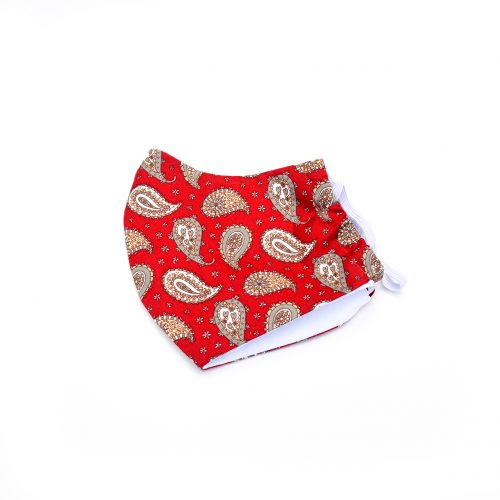 Red Paisley pattern face mask, 100% cotton.