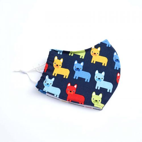 100% cotton face mask with brightly coloured dogs.