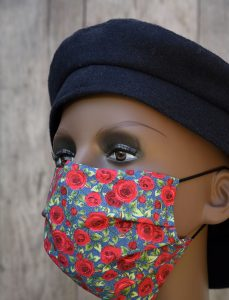 Red roses face mask with nose wire & filter pocket.