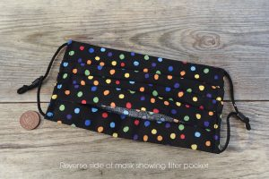 Reverse side of multi-coloured polka dot face mask, in 100% cotton. Nose wire & filter pocket.