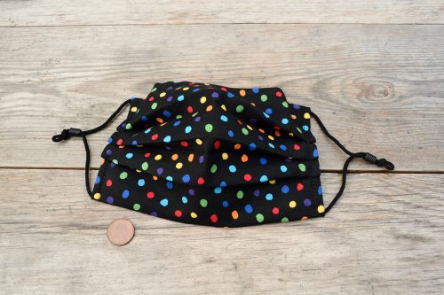 Artist's multi-coloured polka dot face mask, in 100% cotton. Nose wire & filter pocket.