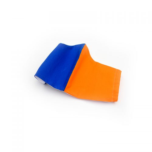 Harlequin face mask in orange and blue. 100% cotton.
