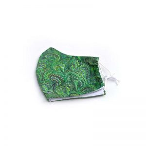 Emerald green marble face mask, 100% cotton.