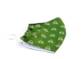 Green face mask with white bicycles pattern. 100% cotton.