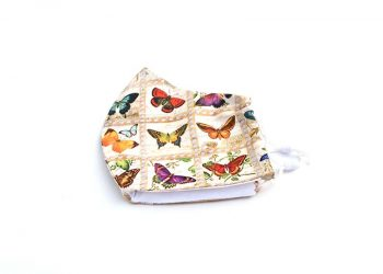 Vintage Butterflies Face Mask, 100% Cotton