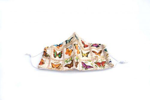 Vintage Butterflies Face Mask, 100% Cotton