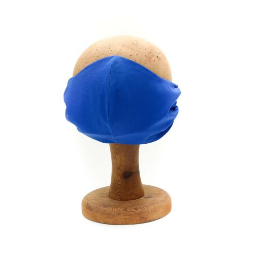 Cobalt blue face mask, 100% cotton.