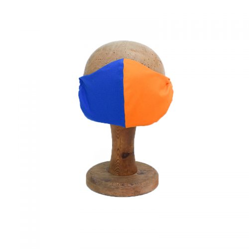 Tow tone face mask orange and blue. Harlequin design. 100% cotton.