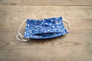 Leaves & ferns face mask, 100% cotton, washable, with nose wire and adjustable ear loops.