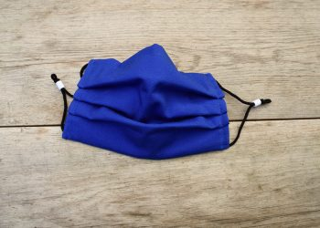 Cotton, cobalt blue face mask, with ear loops, washable.
