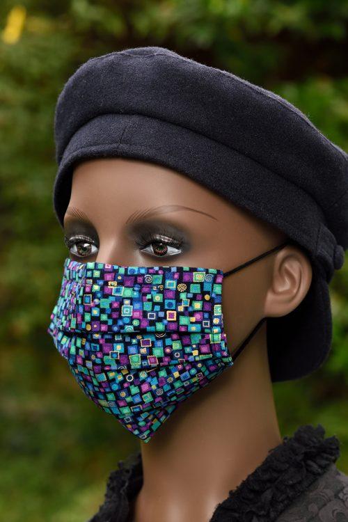 Purple/green/blue/gold Klimt inspired face covering