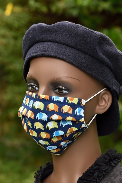 Marching elephants face mask with nose wire and filter pocket, 100% cotton.