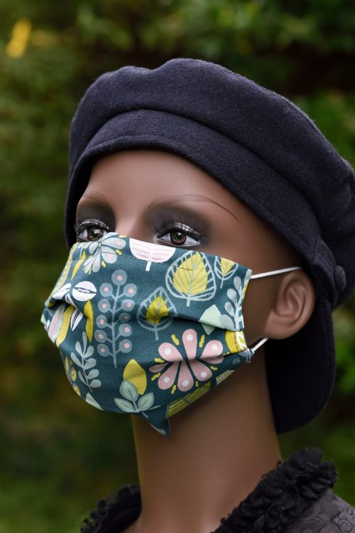 Retro Leaves face mask with nose wire and filter pocket, 100% cotton