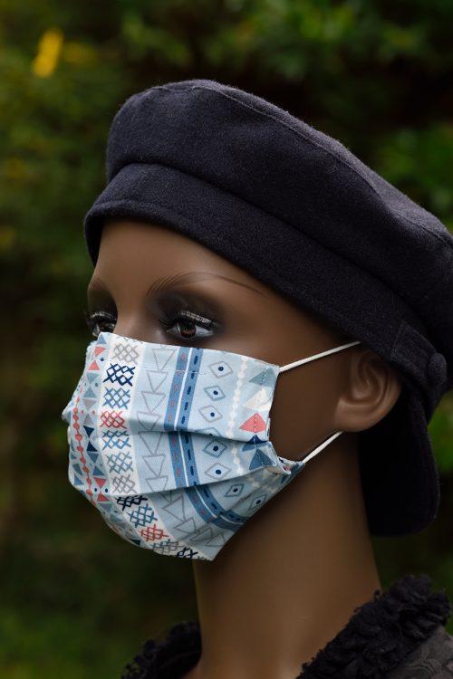 Tribal Stripe face mask, nose wire & filter pocket.