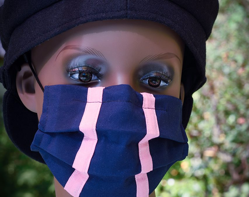 Blue Face Mask With Pink Stripes