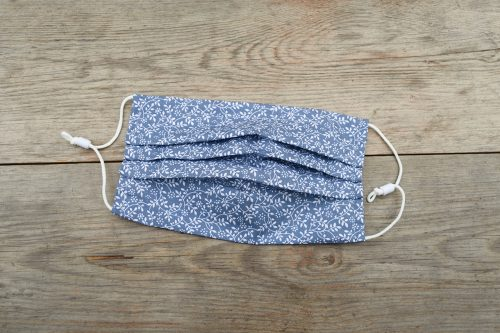 Steel Blue 'Climbing Leaves' face mask, in 100% cotton.