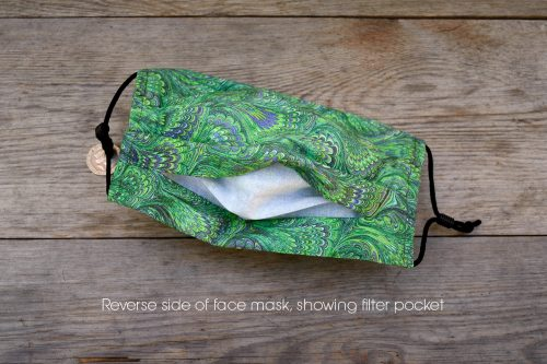 Emerald green marbled face mask, with nose wire & filter pocket.