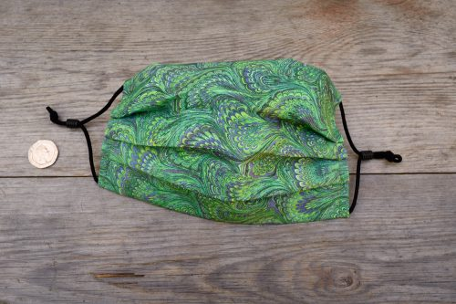 Emerald green marble pattern face mask, with nose wire & filter pocket.