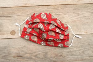 Red Paisley face mask, 100% cotton with nose wire & filter pocket.