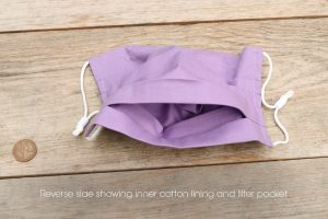 Reverse side of lilac colour face mask, 100% cotton, with nose wire & filter pocket.