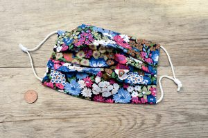 White, blue & pink floral face mask, 100% cotton.