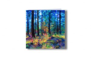 'Bolderwood 3' - Trees at Bolderwood, New Forest, UK. Art greetings card by Lindsey Harris.